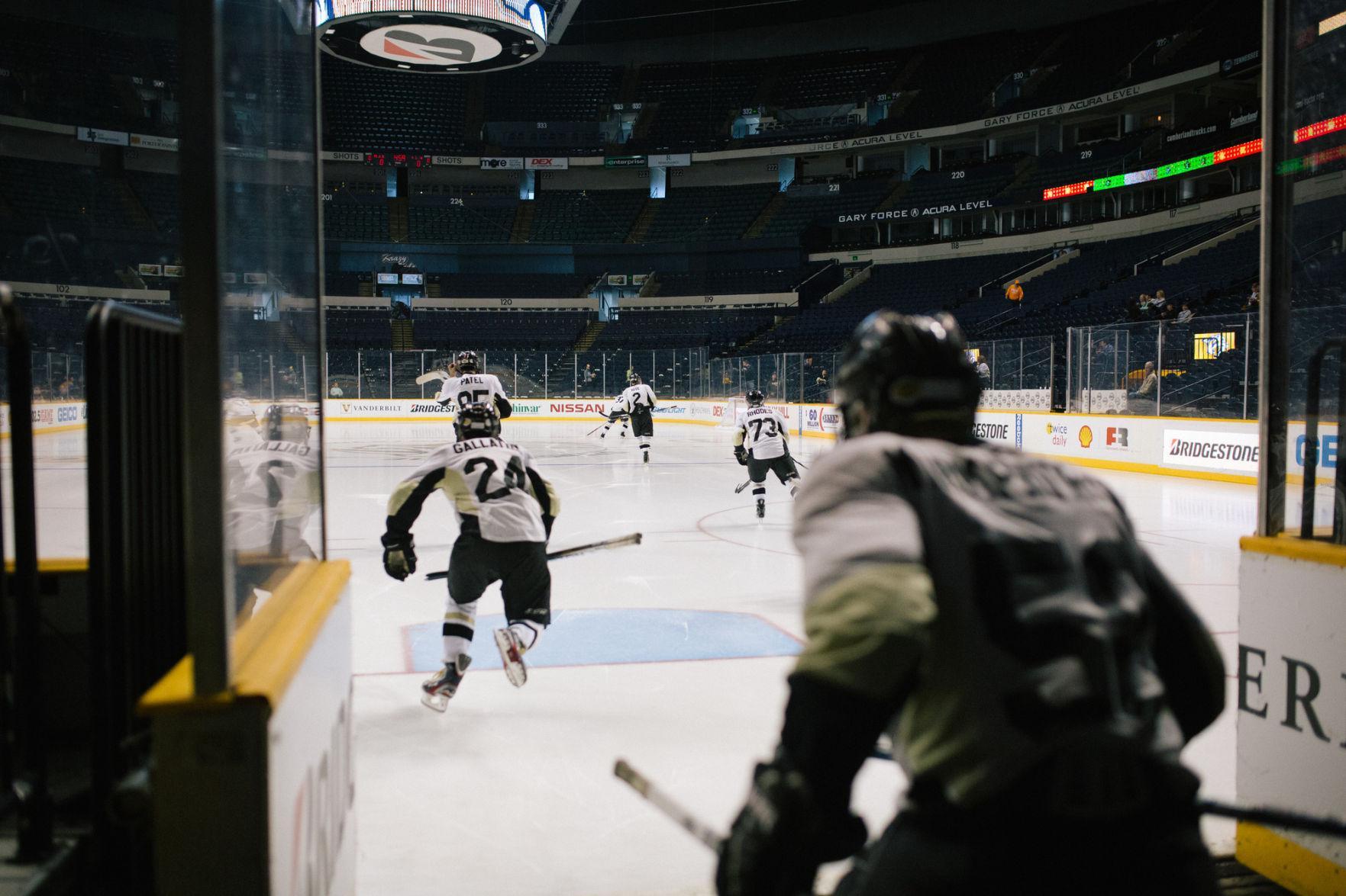 The Vanderbilt Club Hockey Team take the ice at Bridgestone Arena (Bosley Jarrett)