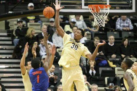 Damian Jones (30) blocks a shot during the first half of Vanderbilt's matchup against the Florida Gators at Memorial Gym February 3, 2015.