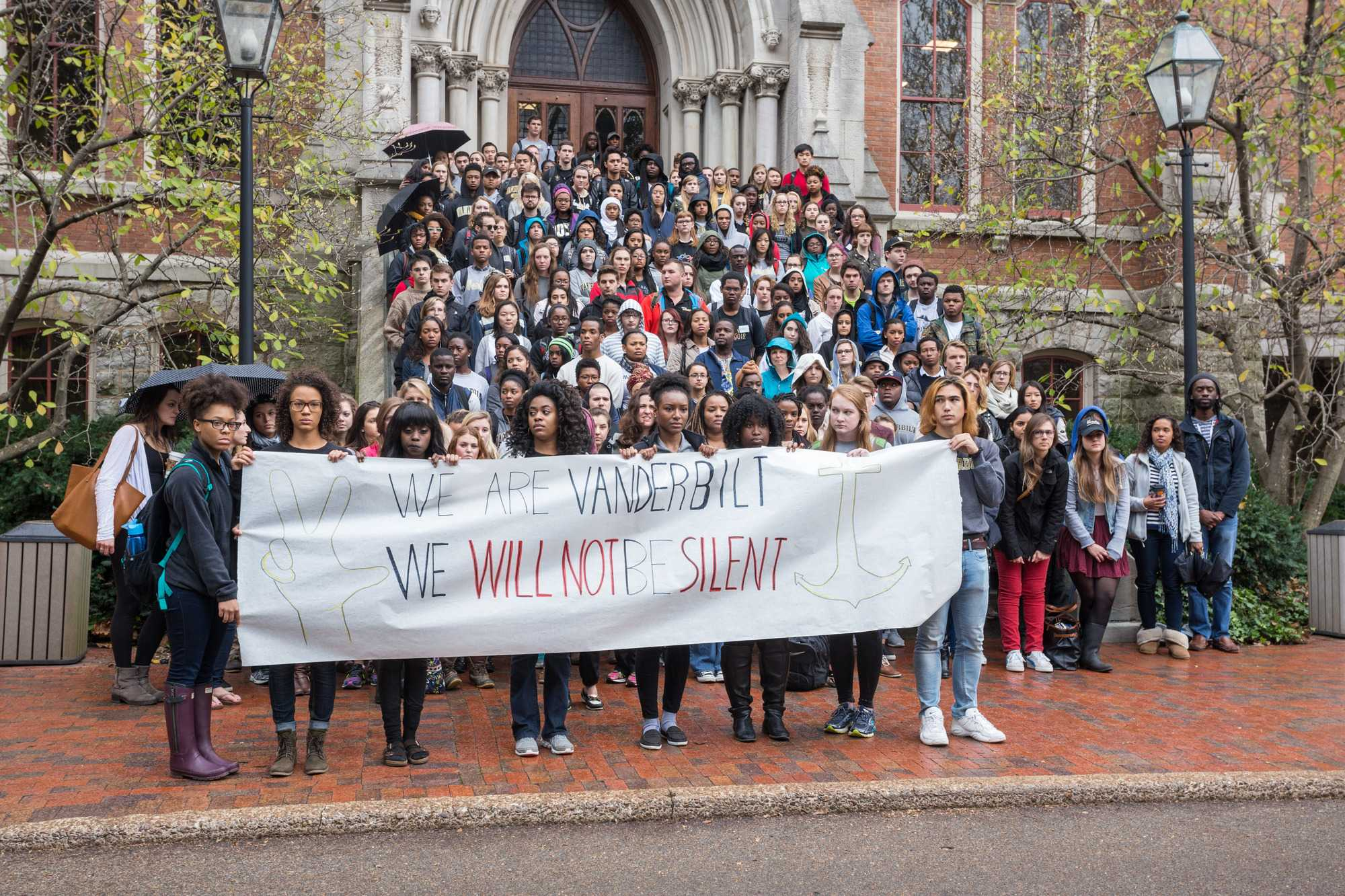 Hidden Dores held a call to action and petition delivery to Chancellor Zeppos Nov. 16, 2015. (Ziyi Liu)