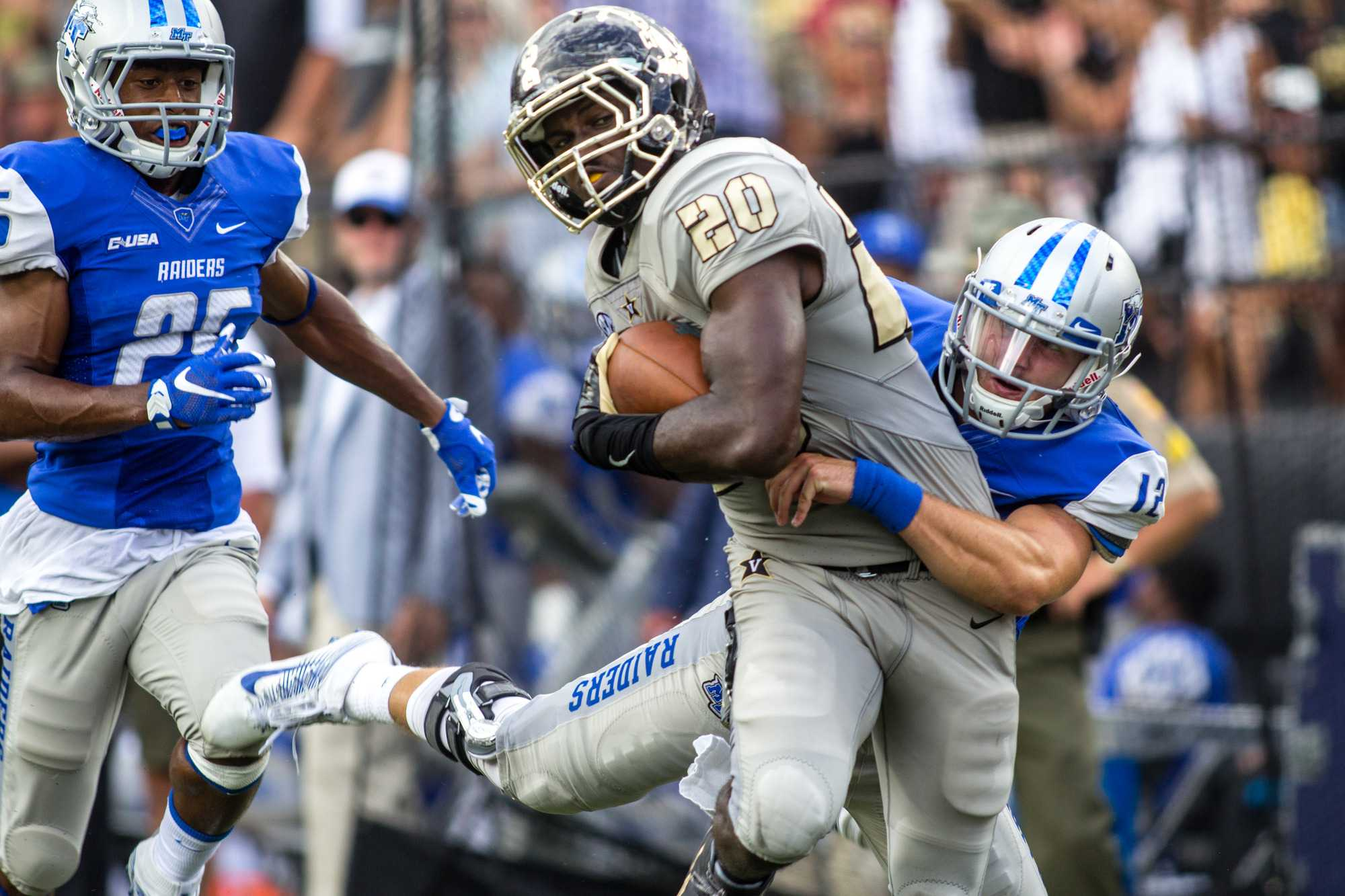 September 10th, 2016 – Oren Burks (20) returns an interception during the Commodores' 47-24 win against MTSU Saturday afternoon at Vanderbilt Stadium.