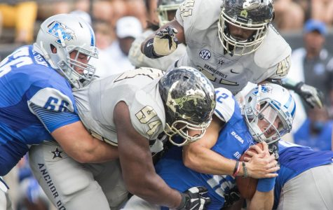 The Commodore defense makes a sack as Vanderbilt defeated the MTSU Blue Raiders 47-24 at Vanderbilt Stadium September 10, 2016. (Ziyi Liu)