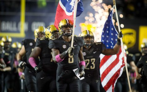 October 22nd, 2016 – The Commodores take the field before their 35-17 win against TSU on Saturday Night at Vanderbilt Stadium. Photo by Blake Dover