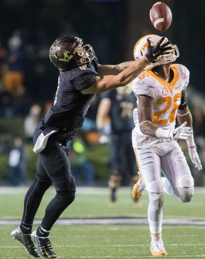 Vanderbilt wide receiver Caleb Scott reels in a catch for a big gain as the Commodores defeated Tennessee 45-34 at Vanderbilt Stadium November 26, 2016.