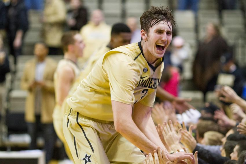 Luke Kornet celebrates as Vanderbilt defeats #8 Texas A&M 77-60 Febuary 4, 2016.
