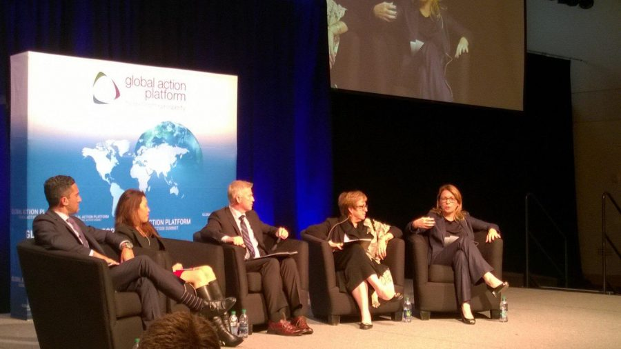 MCC+CEO+Dana+Hyde+%28far+right%29+discusses+the+importance+of+using+private+investment+as+a+means+to+end+poverty+at+the+Global+Action+Summit.+Photo+courtesy+of+MCC.+