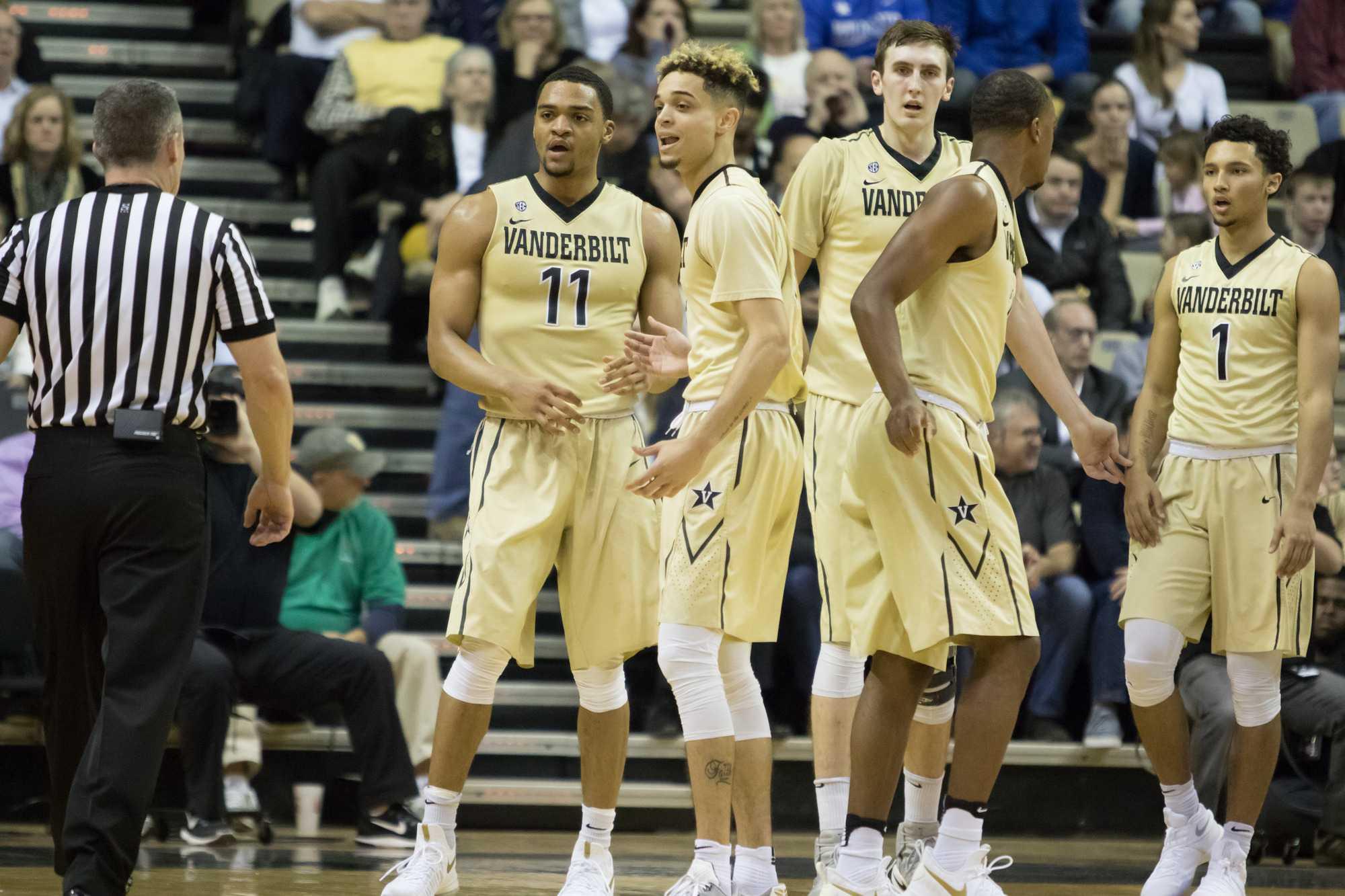 Matthew Fisher-Davis (5) argues a call as Vanderbilt lost to #6 Kentucky 87-81 at Memorial Gym January 10, 2016.
