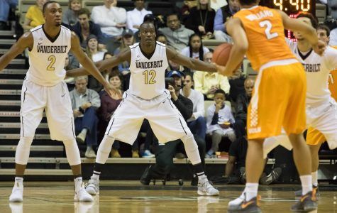 Djery Baptiste (12) as Vanderbilt lost to rival Tennessee 87-75 at Memorial Gym January 14, 2017. Photo by Ziyi Liu.
