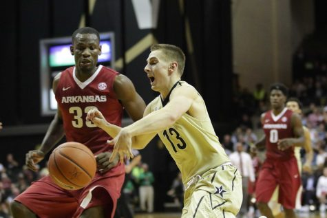 Riley LaChance as Vanderbilt was stunned 71-70 against Arkansas at Memorial Gym January 24, 2017.