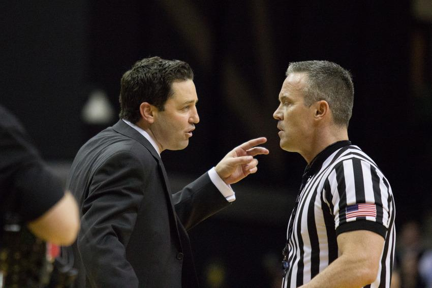 January 10, 2017 – Coach Bryce Drew argues with a ref during the Commodores' 87-81 loss to Kentucky in Memorial Gym.