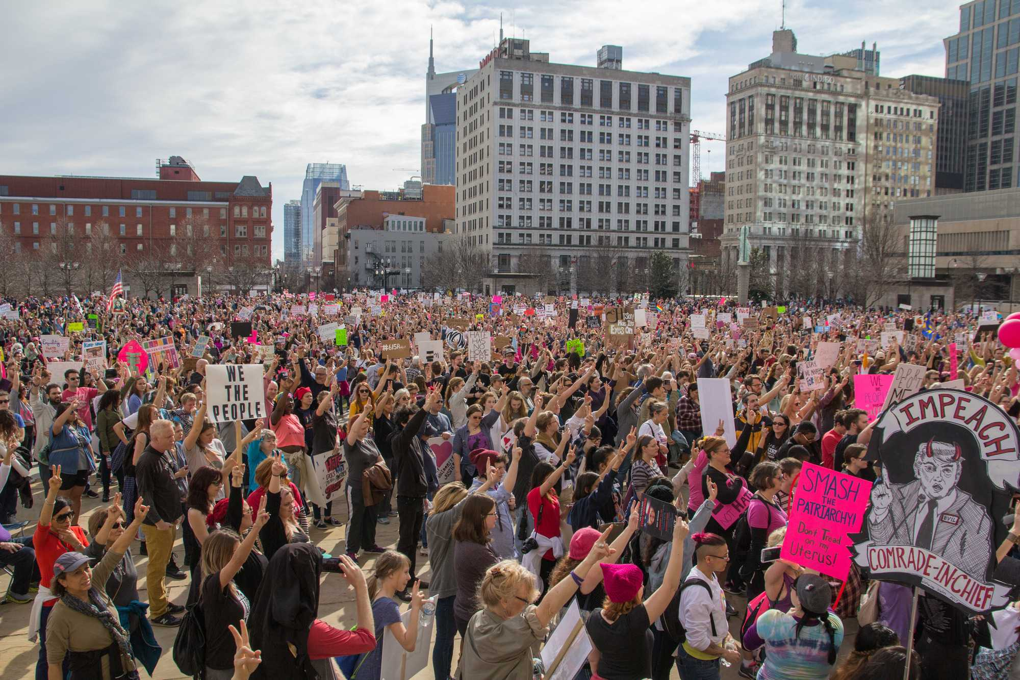 January 21st, 2017 – Thousands of women and men gather in downtown Nashville in tandem with hundreds sister marches around the world following the innaguration of Donald Trump.