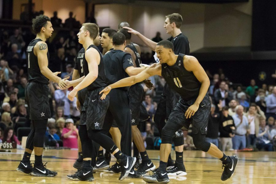 Timeout celebration as Vanderbilt defeated South Carolina 71-62 at Memorial Gym February 18, 2017.