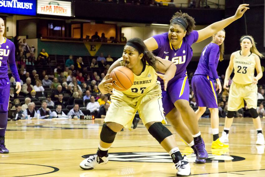 Jan. 19, 2014 - Marqu'es Webb fights for the ball in Sunday's game against LSU. The Commodores go on to win with a score of 79-70.