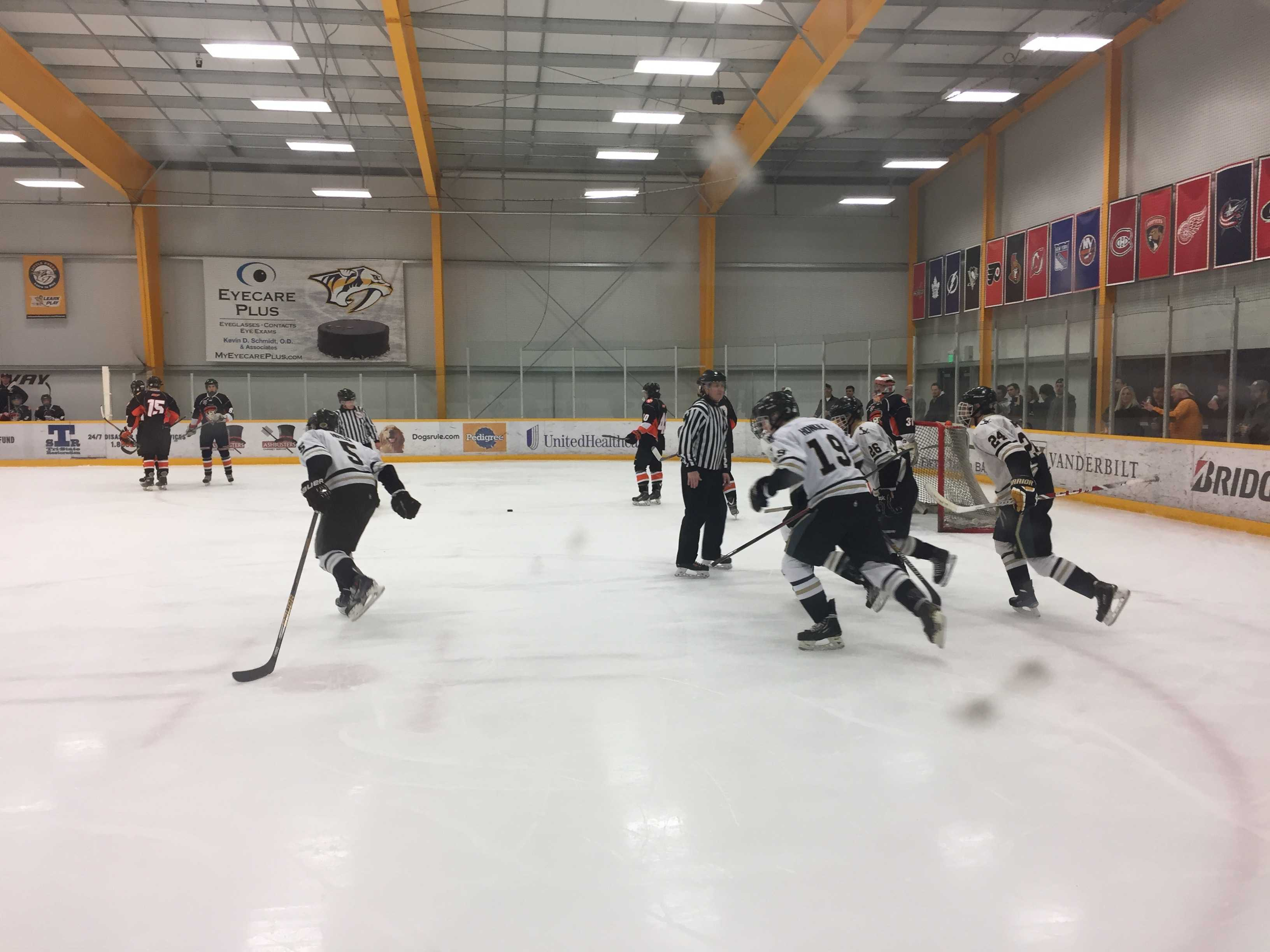 The Vanderbilt Commodores celebrate a goal against the Tennessee Ice Vols in the first round of the 2017 SECHC Tournament.