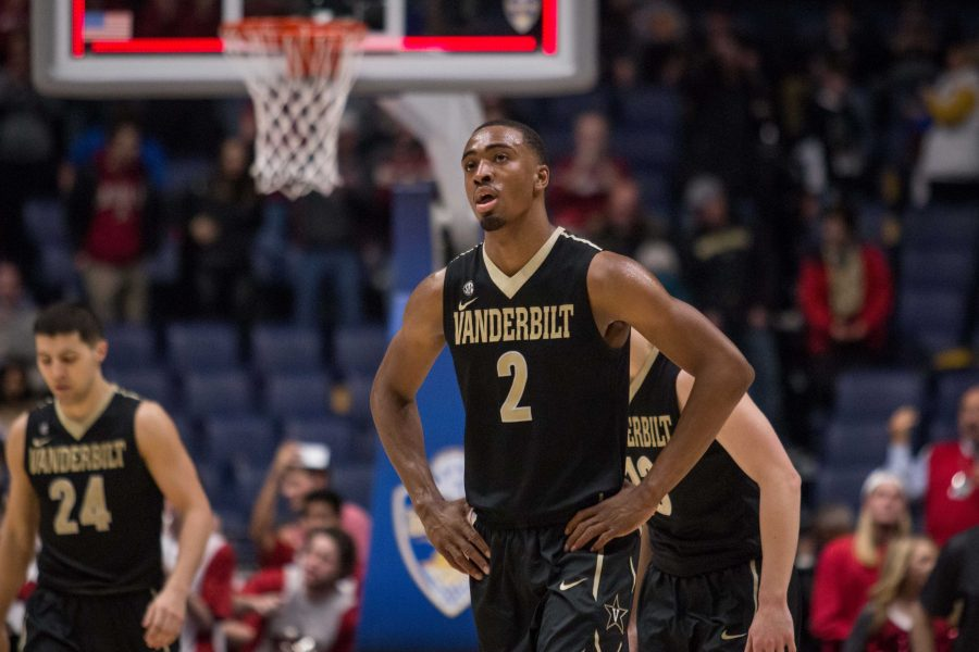 Joe+Toye+%282%29+and+Vanderbilt+as+the+buzzer+sounded+on+the+Commodores%27+SEC+tournament+semifinal+defeat+to+Arkansas+on+March+11%2C+2017+at+Bridgestone+Arena+in+Nashville.