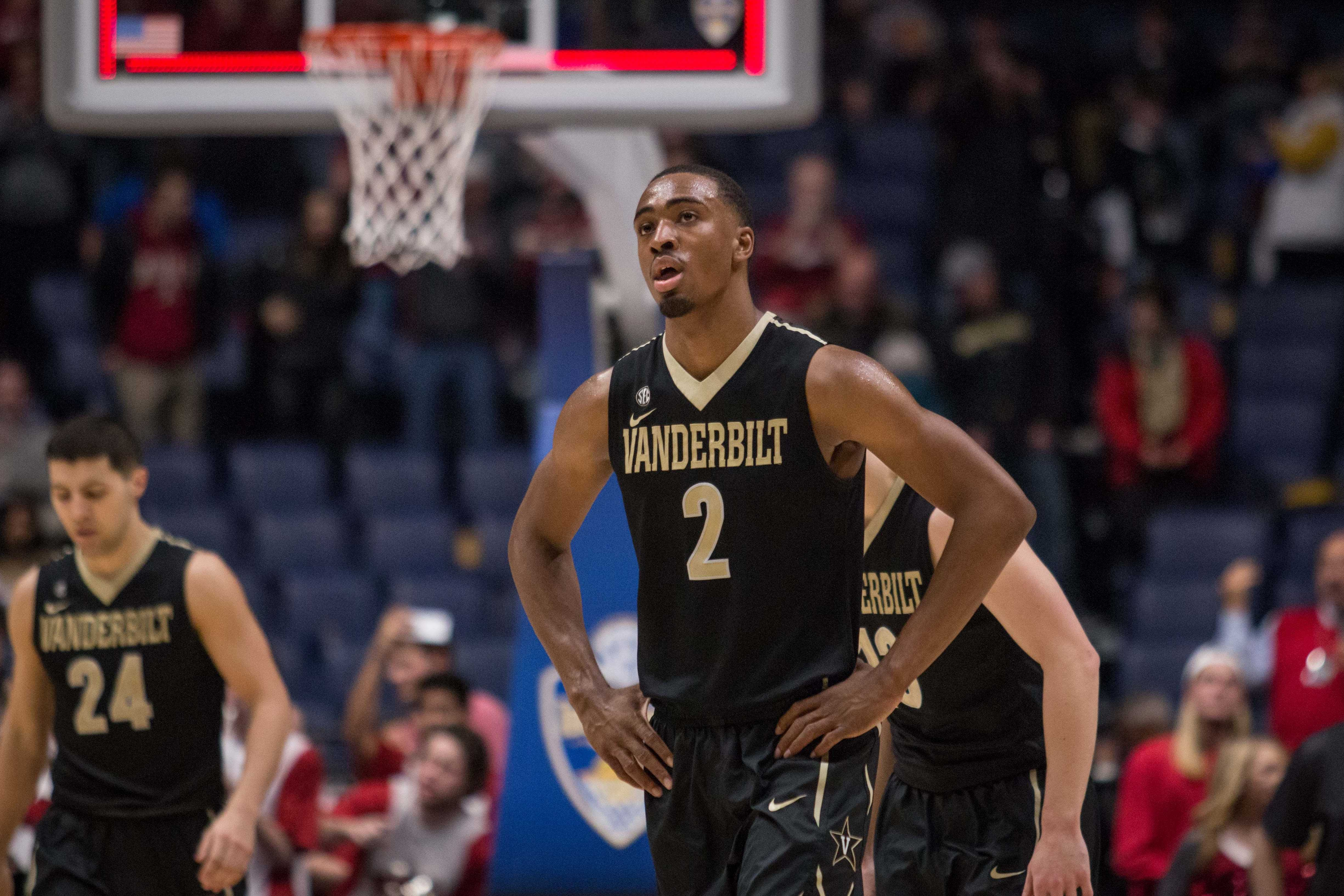Joe Toye (2) and Vanderbilt as the buzzer sounded on the Commodores' SEC tournament semifinal defeat to Arkansas on March 11, 2017 at Bridgestone Arena in Nashville.