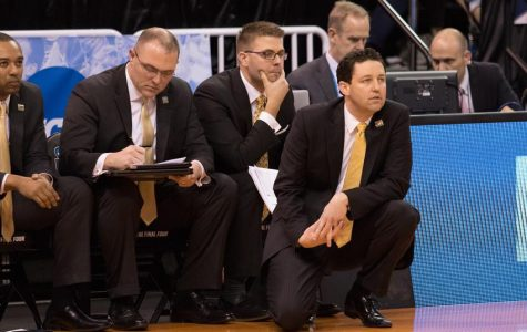 Vanderbilt head coach Bryce Drew and his staff look on during the Commodores' 68-66 NCAA tournament first-round loss to Northwestern on March 16, 2017.
