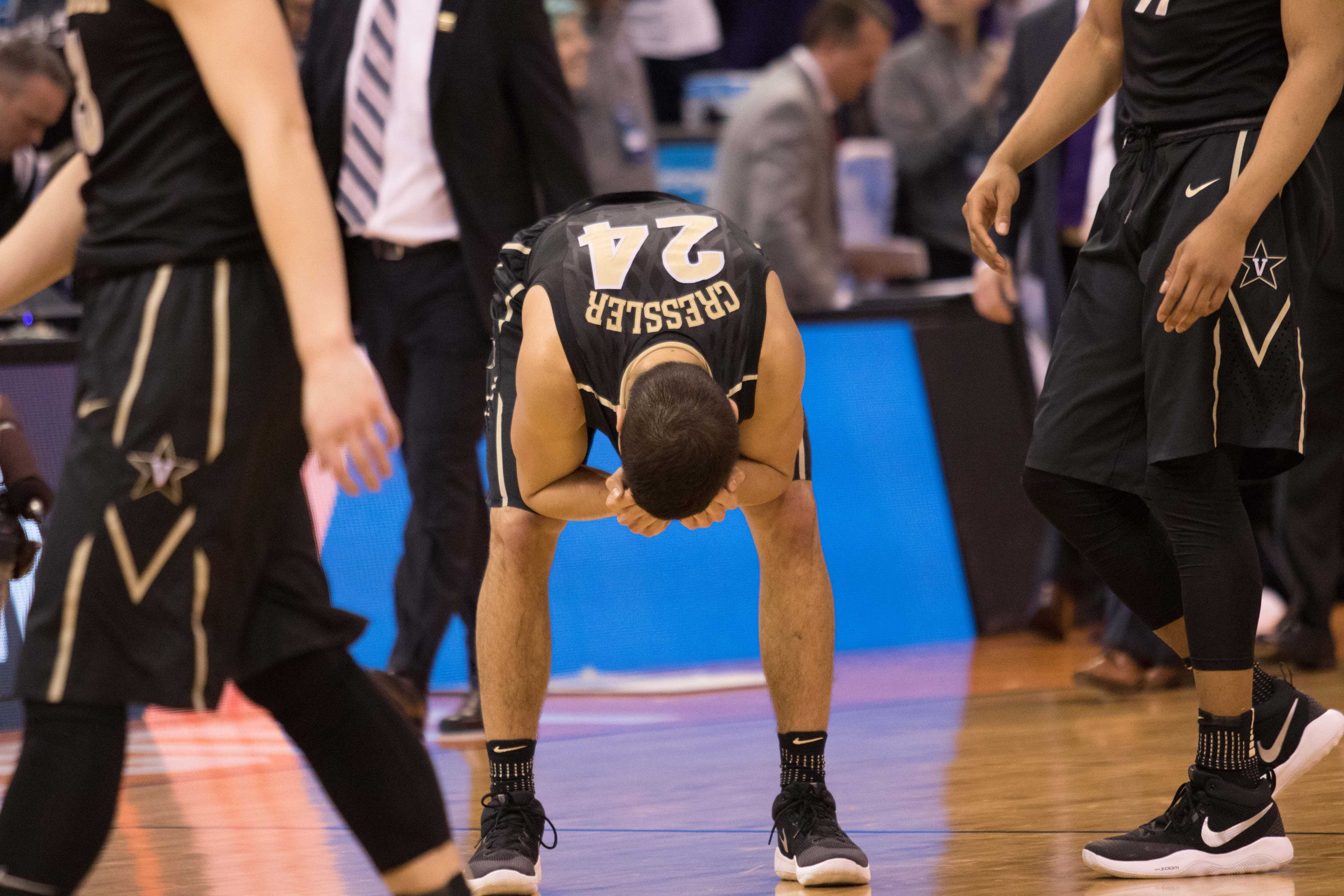 Vanderbilt's Nolan Cressler reacts after the Commodores lost to Northwestern 68-66 in the NCAA tournament first round on March 16, 2017.