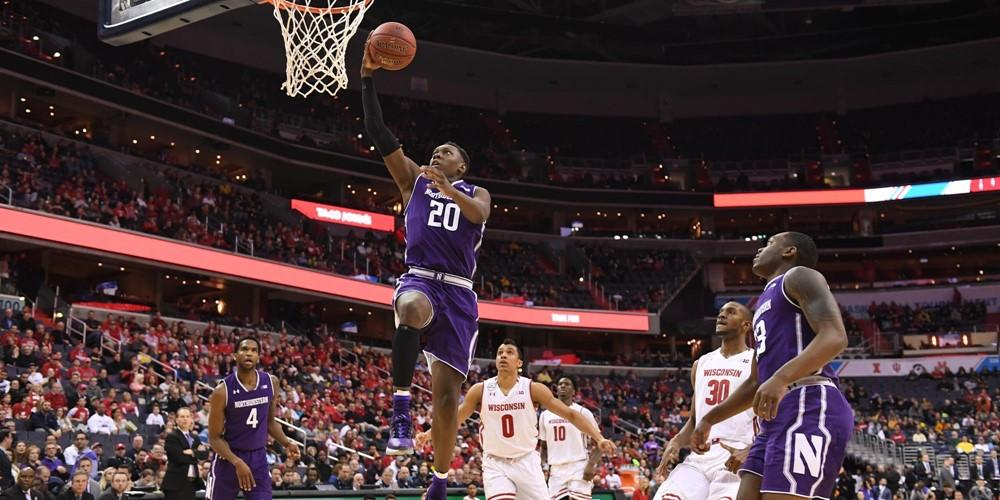 Northwestern's Scottie Lindsey attacks the basket against Wisconsin in the Big Ten tournament semifinals March 11, 2017. Photo courtesy of Northwestern Athletics
