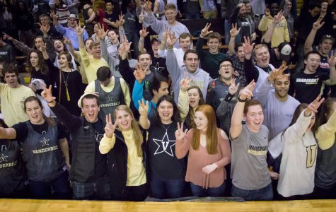 February 25th, 2017 – Fans sing the alma mater after the Commodores' 77-48 win against Mississippi State Saturday afternoon in Memorial Gym.