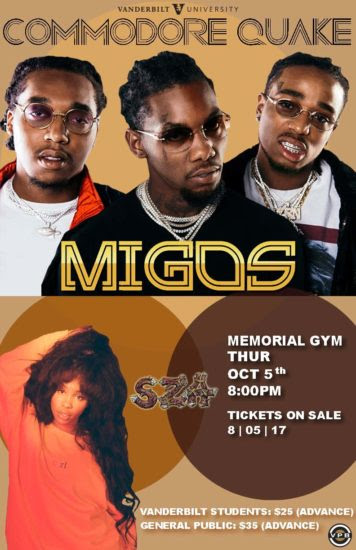 Migos and SZA to perform at Commodore Quake 2017