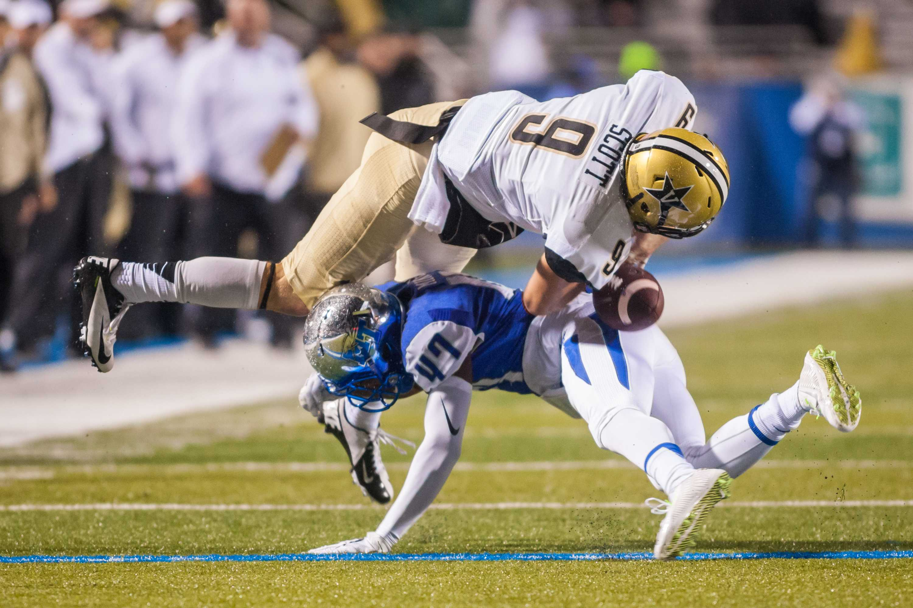 Caleb Scott (9) fumbles during Vanderbilt's 17-13 win against Middle Tennessee State University October 3, 2015. Photo by Ziyi Liu.