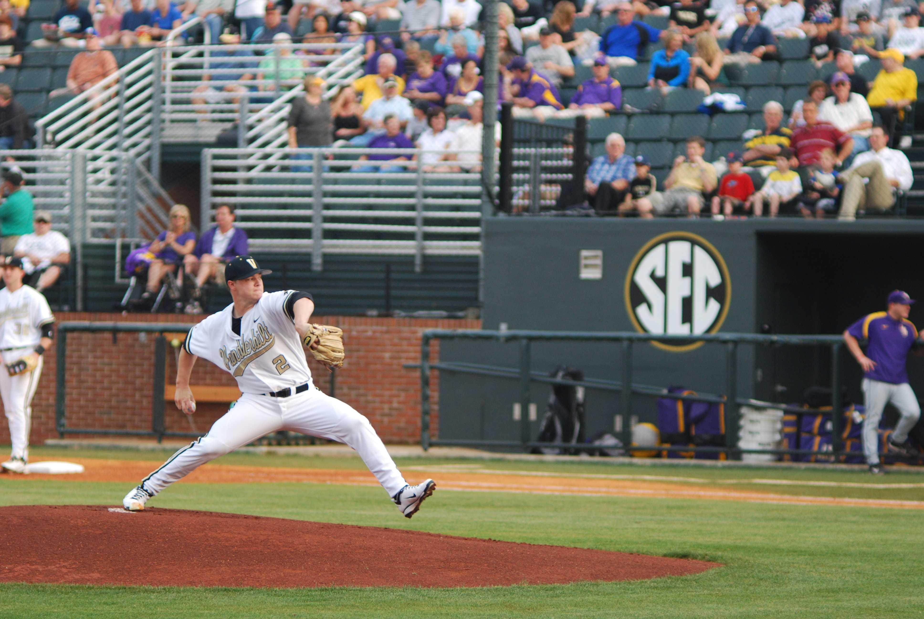 Sonny Gray (2), Vanderbilt baseball vs. LSU, April 22, 2011. Photo by Beck Friedman.