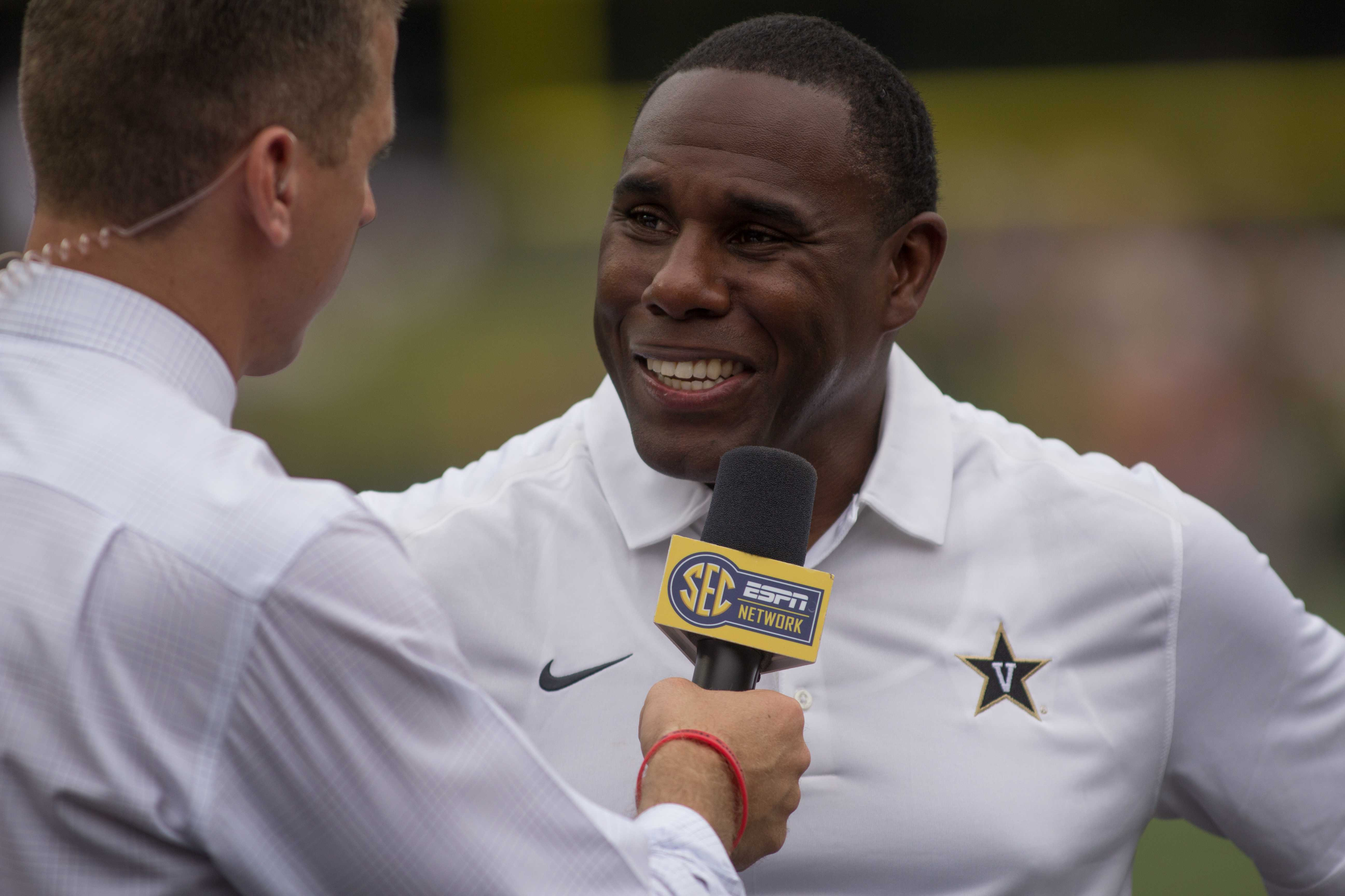 September 19th, 2015 - Derek Mason during the Commodores' 47-7 win against Austin Peay Saturday afternoon at Dudley Field. Photo by Blake Dover.