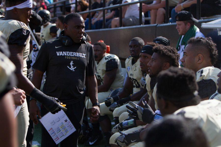 Head coach Derek Mason talks to his players during the Alabama A&M game on Saturday September 09, 2017 (Hustler Multimedia/Hunter Long)