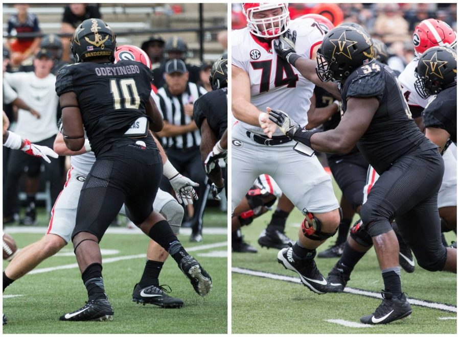 Brothers Dare (right) and Dayo (left) Odeyingbo play for the Commodores against Georgia. Photos by Claire Barnett.