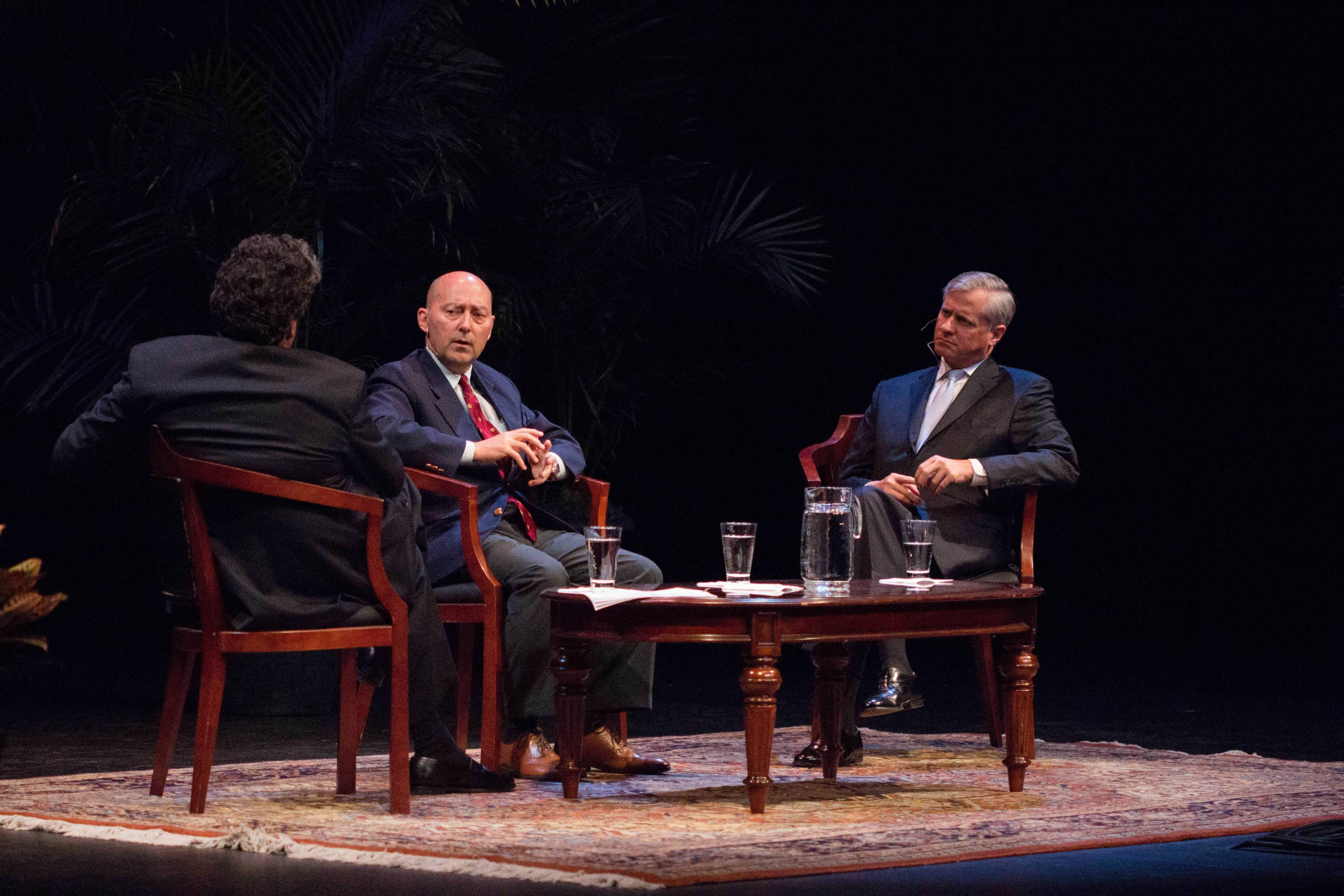 Admiral James Stavridis, former Supreme Allied Commander for NATO, joins Chancellor Zeppos and Jon Meacham to discuss global security at the Chancellor's Lecture Series, held at Blair's Ingram Hall on Tuesday, October 3, 2017.