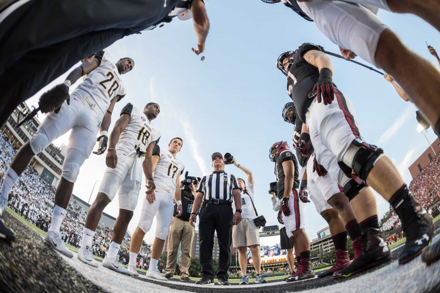 Coin+Toss+before+Vanderbilt+lost+against+the+South+Carolina+Gamecocks+13-10+at+Vanderbilt+Stadium+September+1%2C+2016.+Photo+by+Ziyi+Liu.+