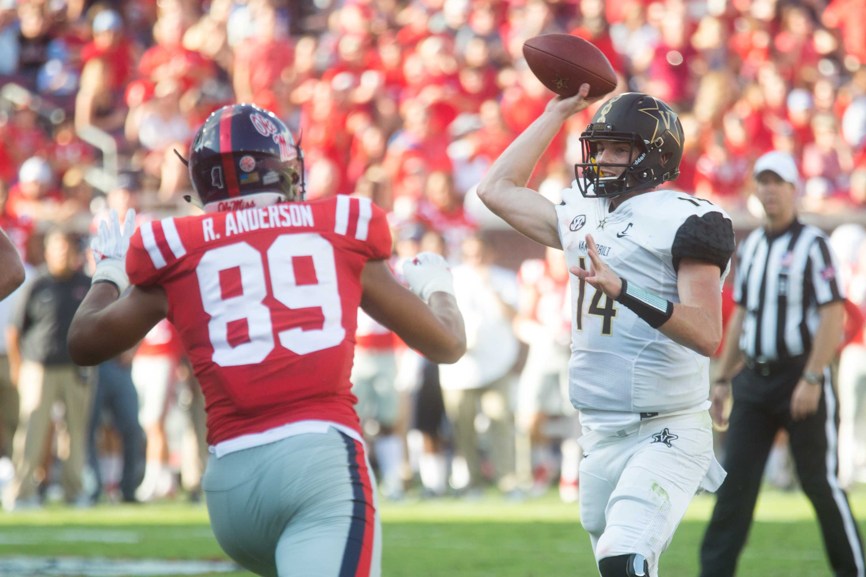 The Commodores play football at Ole Miss on Saturday, October 14, 2017. Photo by Claire Barnett.