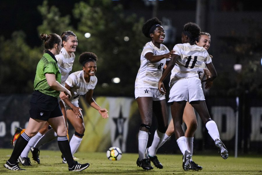 The Vanderbilt Commodores celebrate their second goal in a 2-1 upset of No. 11 Tennessee. Photo by Brent Szklaruk.