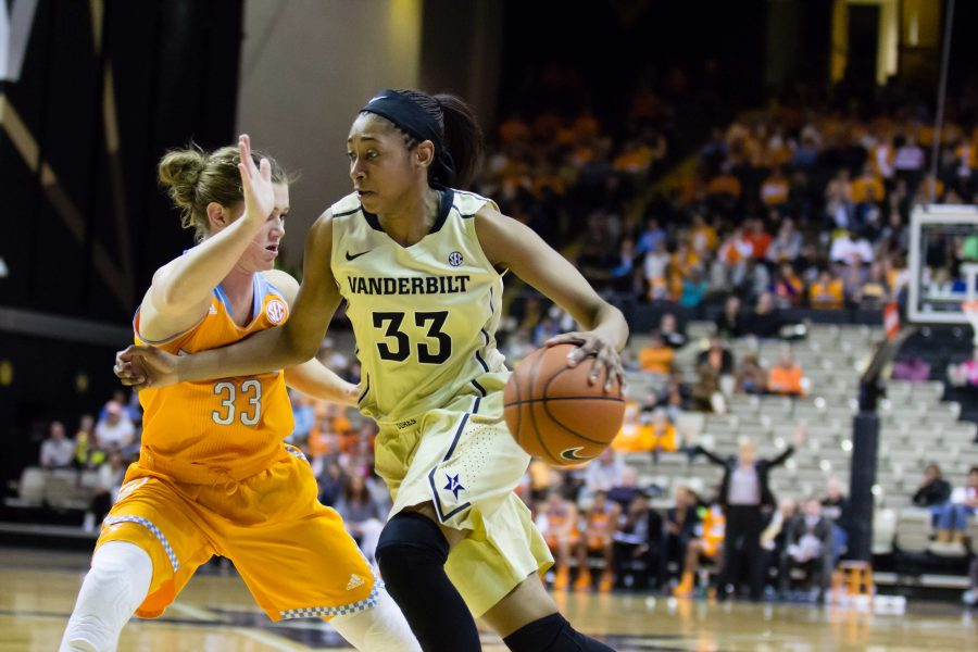 January 5th, 2015 - Christa Reed (33) drives the ball in Monday night's loss to Tennessee in Memorial Gym. The final score was 57-49. Photo by Blake Dover.