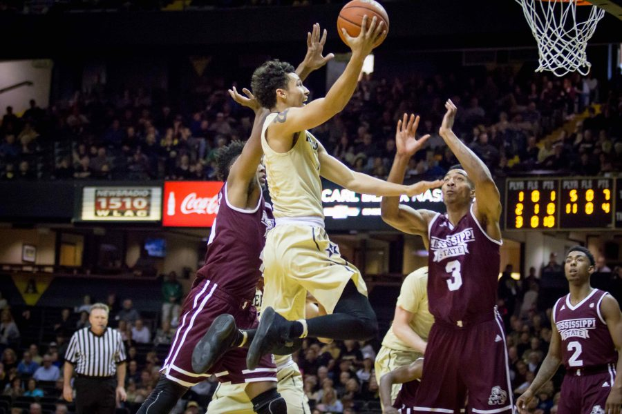 February 25th, 2017 – Payton Willis (1) drives with the ball during the Commodores' 77-48 win against Mississipi State Saturday afternoon in Memorial Gym. Photo by Blake Dover.