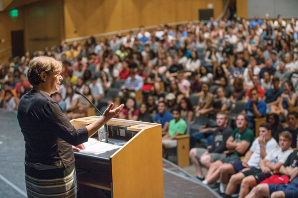 Dean Lauren Benton addresses first-year Arts and Science students at an assembly in Langford Auditorium Aug. 24 2015. \\John Russell/Vanderbilt