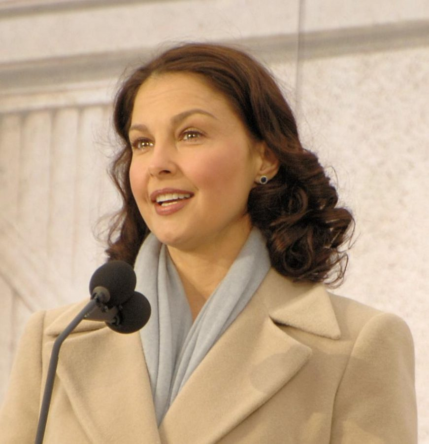 Ashley Judd at the Lincoln Memorial on the National Mall in Washington, D.C., Jan. 18, 2009, during the inaugural opening ceremonies.
