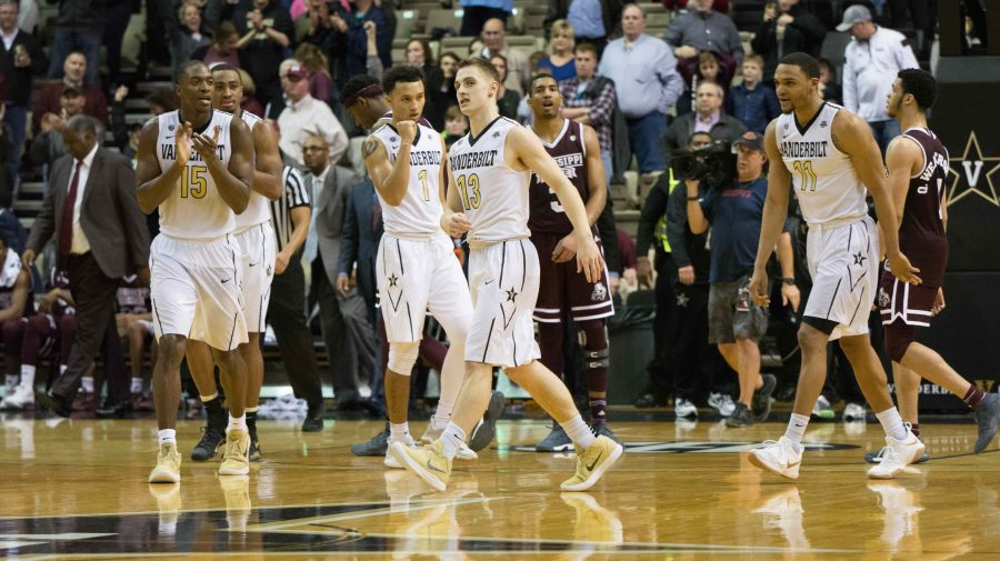 The Vanderbilt Commodores top the Mississippi State Bulldogs with a game-winning buzzer-beater three point shot on Wednesday, February 14th, 2018. (Photo by Brent Szklaruk)