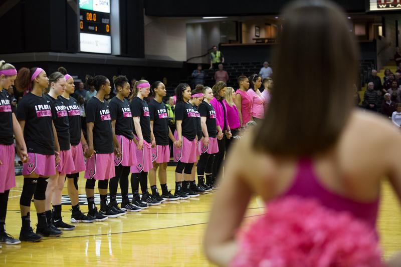 The Vanderbilt Women's Basketball Team sports pink in support of breast cancer awareness on Thursday, February 15, 2018. (Photo by Claire Barnett)