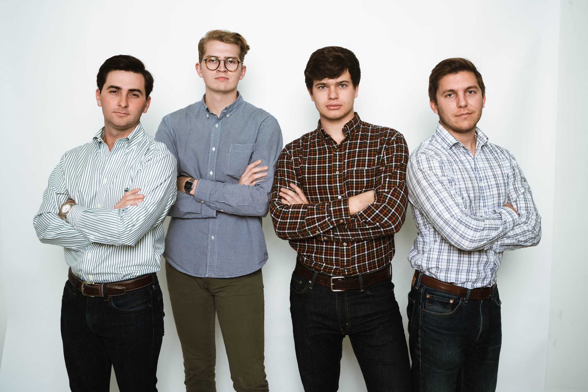 From left: Logan Matthews, COO, Jonathan Rankin, Creative Director, Bruce Brookshire, CTO, Carson Ward, CEO
