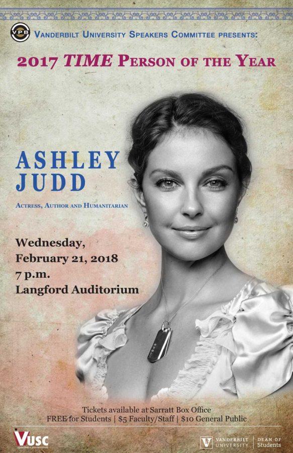 Ashley Judd to speak in Langford Auditorium Feb. 21