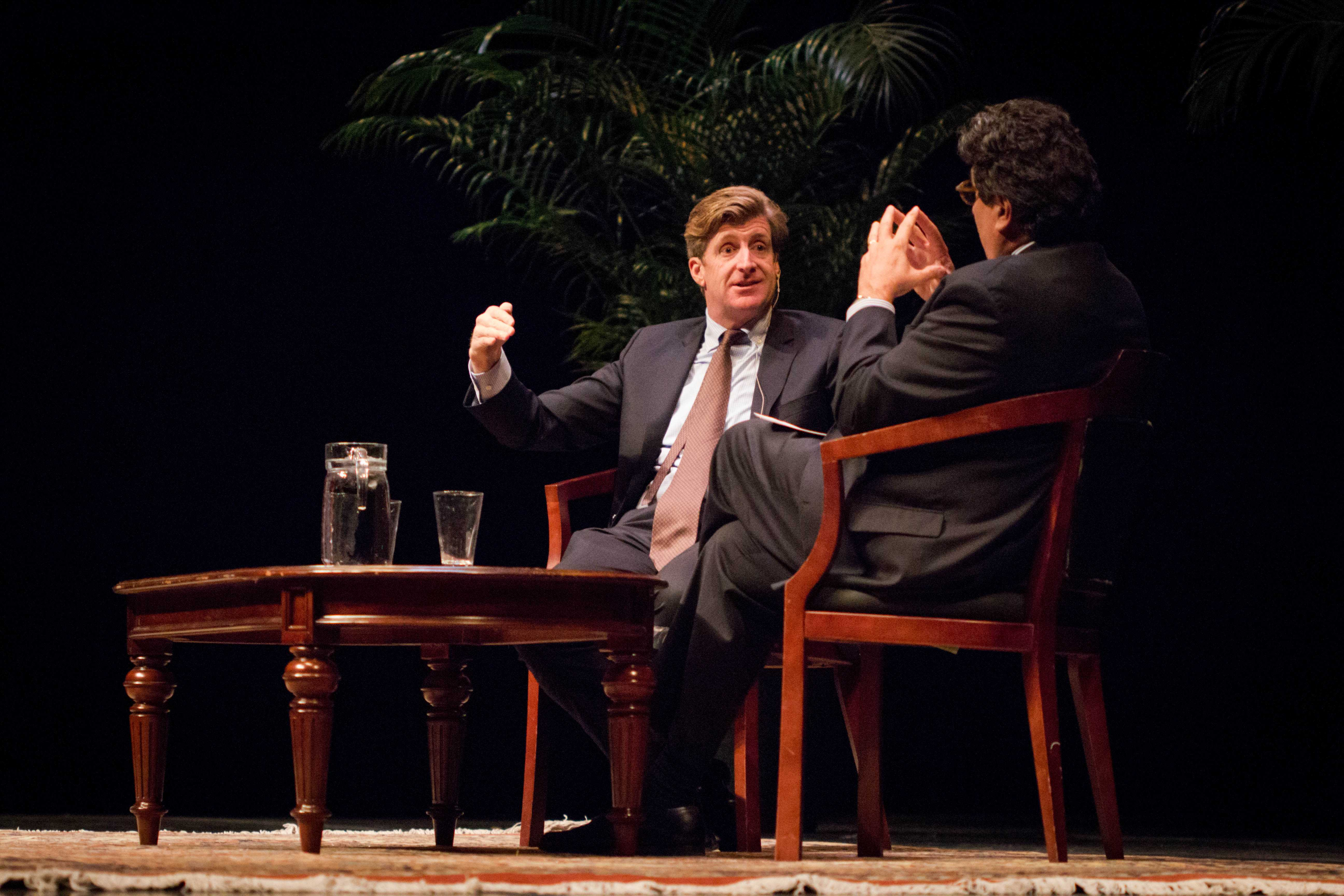The Honorable Patrick J. Kennedy joins Chancellor Zeppos to discuss the significance of mental health at Langford Auditorium on Tuesday, March 13, 2018. (Photo by Emily Gonçalves)