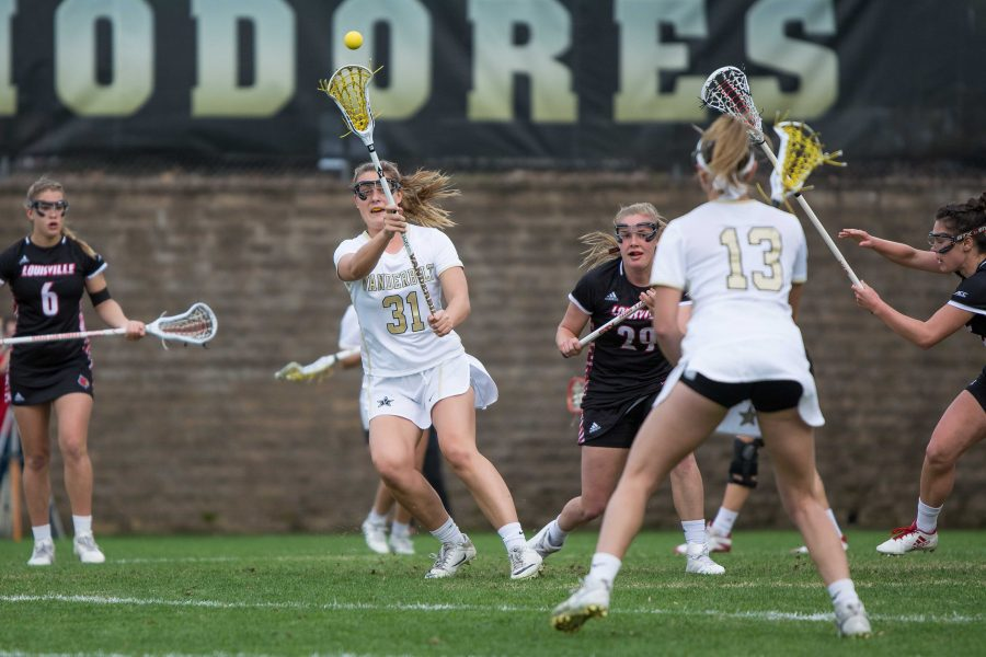 The+Vanderbilt+Women%27s+Lacrosse+team+plays+Louisville+on+Tuesday%2C+February+27th%2C+2018.+%28Photo+by+Brent+Szklaruk%29