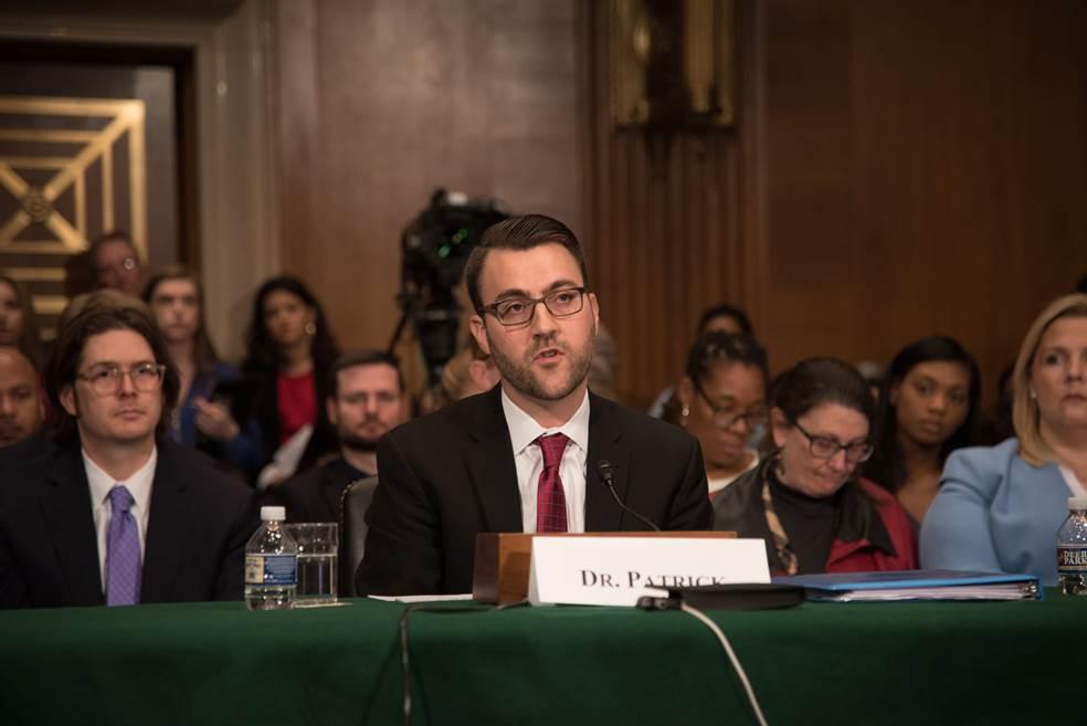 Dr. Stephen Patrick testifies at the U.S. Senate // photo courtesy of Dr. Stephen Patrick