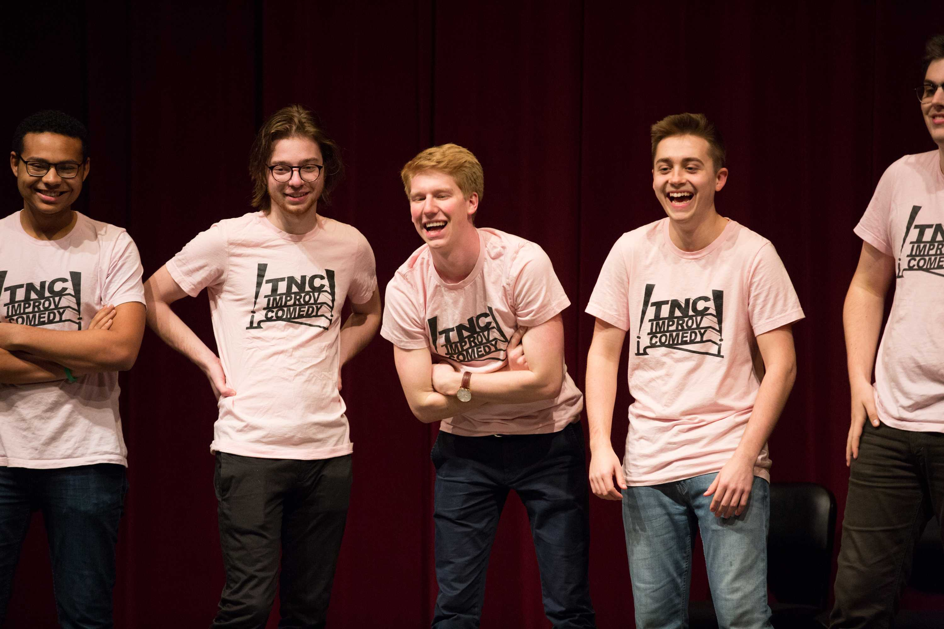 Vanderbilt's Tongue'N'Cheek performs at the VenUe's Comedy Gold event in Sarratt Cinema on Friday, February 9, 2018. (Claire Barnett)