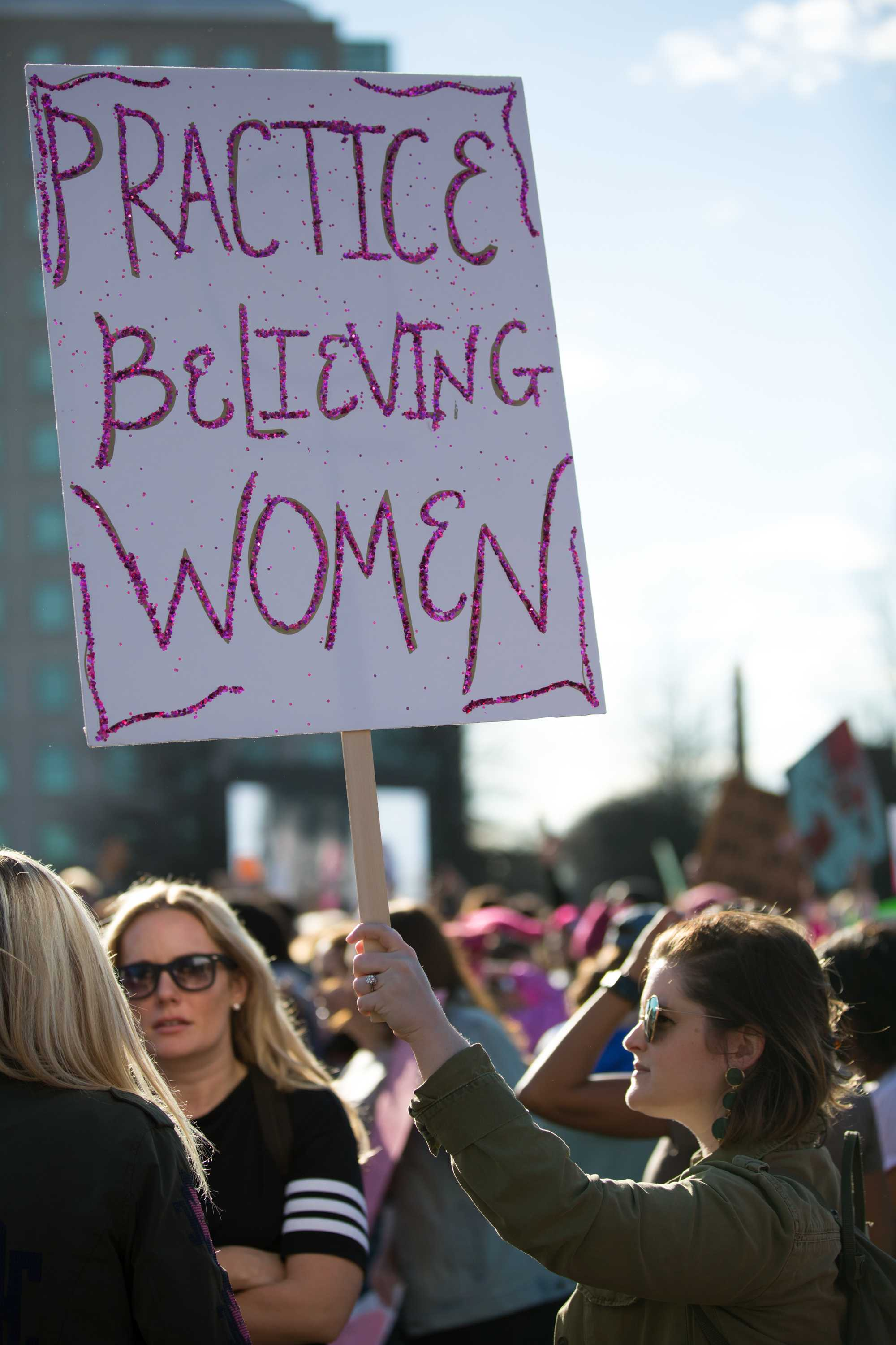Protesters demonstrate in downtown Nashville as a part of the Women's March 2.0 on Saturday, January 20, 2018. (Photo by Claire Barnett // The Vanderbilt Hustler)