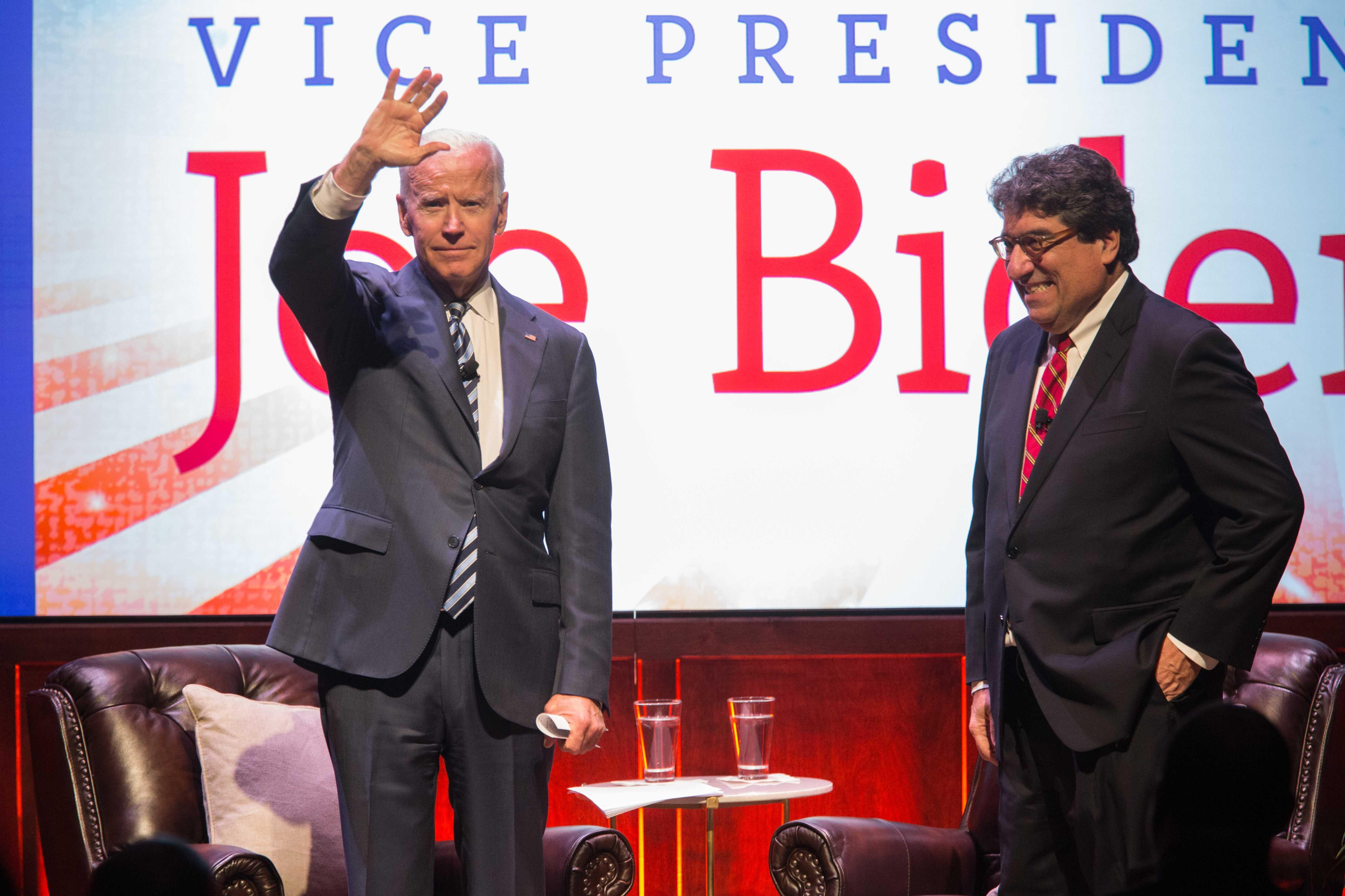 Former Vice President Joe Biden speaks at Vanderbilt on Tuesday, Aptil 10, 2018. (Photo by Claire Barnett)