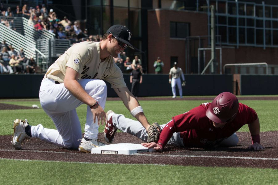 The Vandy Boys play the University of South Carolina on Saturday, April 28, 2018 at Hawkins Field. (Photo by Claire Barnett)