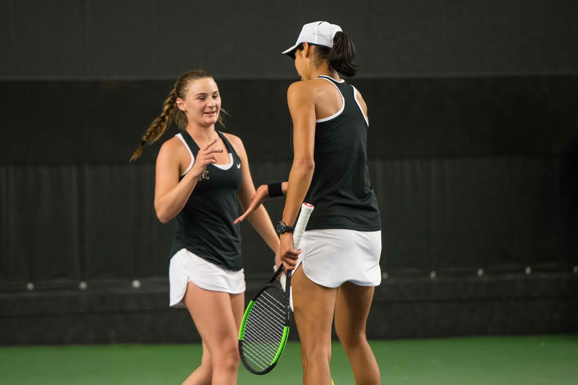 The Vanderbilt Women's Tennis Team faces off against Nebraska on Friday, January 26, 2018. (Photo by Brent Szklaruk)