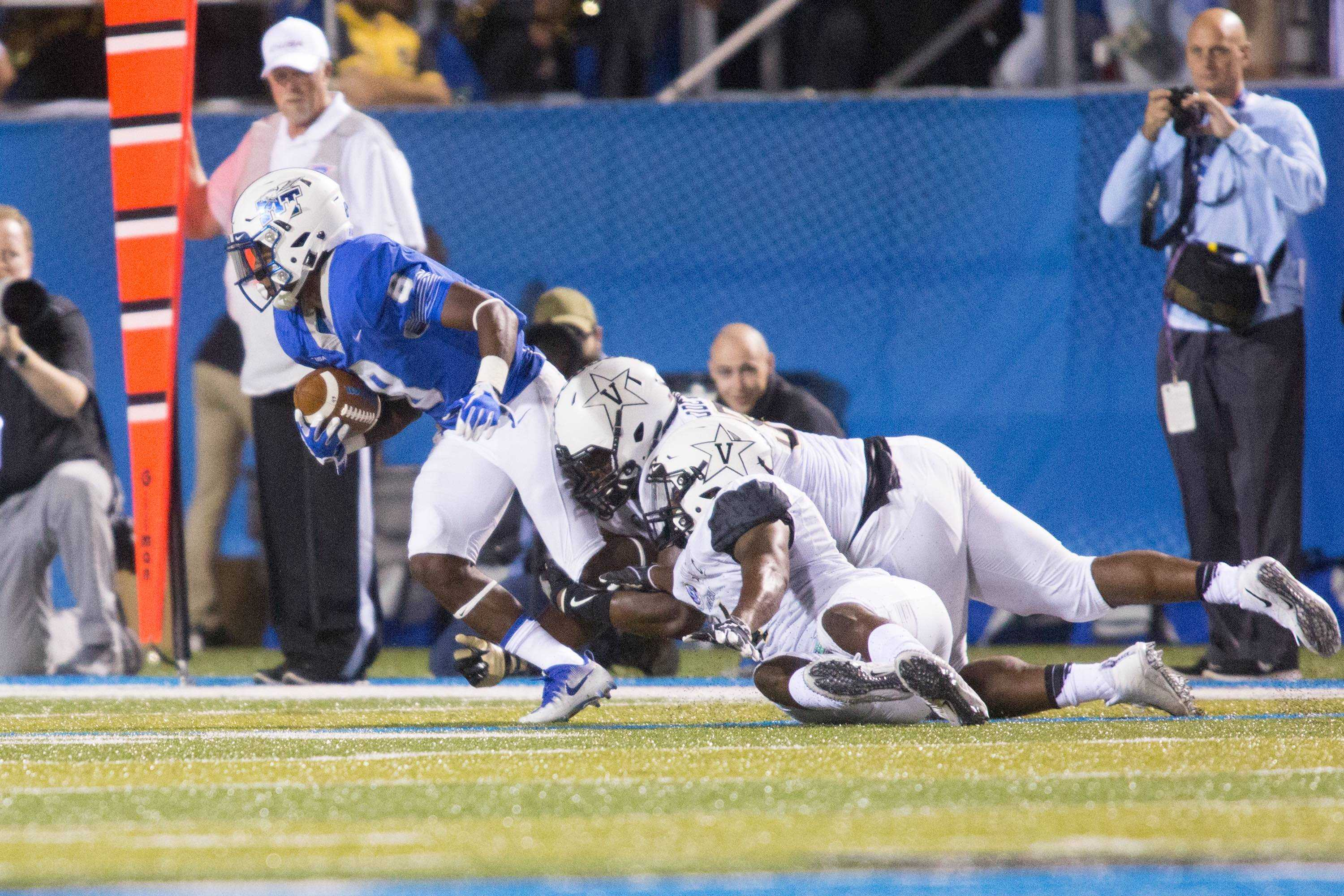 The Vanderbilt football team plays at Middle Tennessee State University on Saturday, September 2, 2017. Photo by Claire Barnett